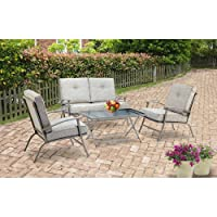 Mainstays Zahara 4-Piece Folding Patio Conversation Set, Seats 4 by Mainstays