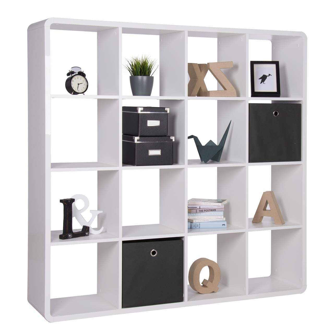 Bücherregal CUBO 16er Raumteiler Hochglanz Weiß mit abgerundeten Ecken 141x141x33cm günstig