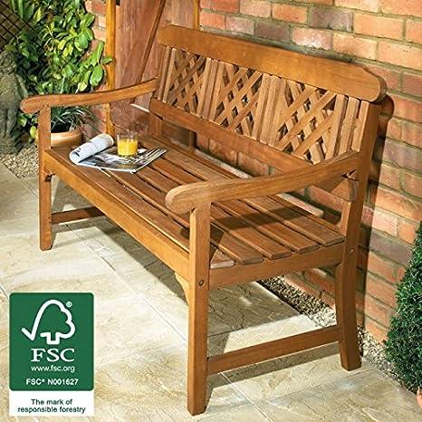 Banco de jardín de madera 3 plazas, las inclemencias del tiempo-resistente al FSC de madera de eucalipto de latón-bañado en accesorios. De gota para diseño cilíndrico, para jardín