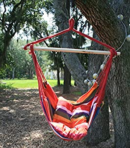 Tropical Stripe Hanging Rope Chair Hammock Swing +Two Lightweight Pillows+Wooden Stretcher Bar+Color+Carolina Dusk+220LBS by Breeze Hammocks™