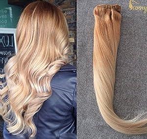 Sunny Extensions a Clip Cheveux Naturel 22Pouces Brun Dore avec Blond Clair Multi Color Clip in Hair Extensions 120gram