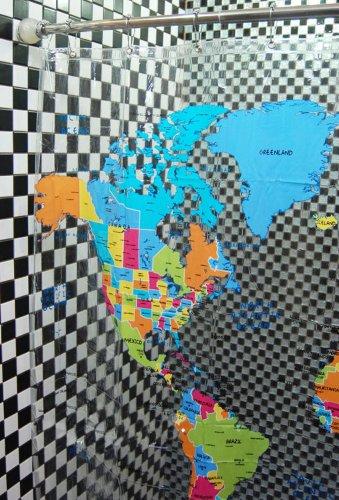 Waterproof clear world map bathroom shower curtain 180200cm id 2578 gumiabroncs Choice Image
