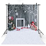 COMOPHOTO Photographic Background Christmas Snowman Gray Woodwall Snowflake Backdrop Photocall New Photobooth 7x5ft Vinyl Cloth Photography Video Studio (Color: Snow1, Tamaño: 5x7ft)