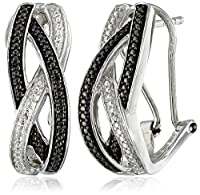 Sterling Silver Diamond Wave Omega Back Earrings from Max Color, LLC