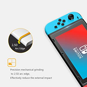 Leandro Screen Protector Tempered Glass 2-pack for Nintendo Switch, 9H Hardness HD,Anti Glare, Easy to Install, Bubbles Free (Color: Switch Screen Protector)