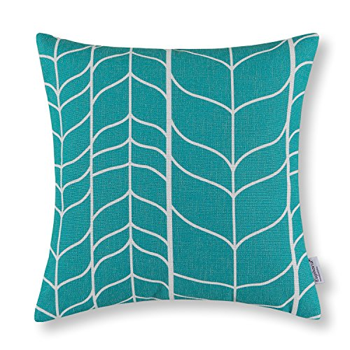 "Euphoria Home Decor Cushion Covers Pillows Shell Cotton Linen Blend Chevron Stem Panels Geometric Teal Color 18"" X 18"""