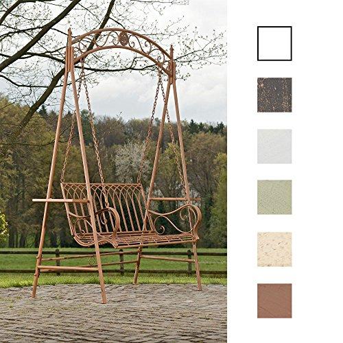 CLP-Garten-Hollywoodschaukel-YLENIA-2-Sitzer-3-Sitzer-Landhaus-Stil-Metall-Eisen-bis-zu-3-Farben-whlbar-antik-braun