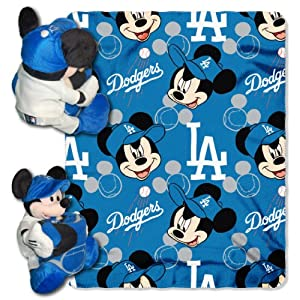 MLB Los Angeles Dodgers Mickey Mouse Pillow with Fleece Throw Blanket Set by Northwest