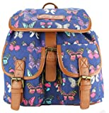 New Ladies Miss Lulu Owl Print Butterfly Print Oilcloth Canvas Backpack Rucksack Shoulder Hand Satchel Bag