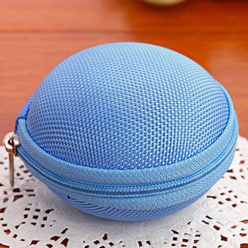 Cute Round Hard Storage Storage Purse Wallet Case For Earphone Headphone Earbuds Sd Tf Cards Mini Bag (Blue 04)