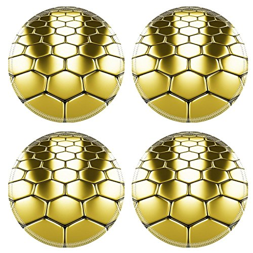 Luxlady Round Coasters 4 Pieces per order. Gold metal surface of golden hexagons perspective shiny abstract industrial IMAGE 19424899 Customized Art Desktop Laptop Gaming mouse Pad
