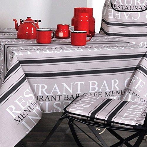 Lovely Casa N116591001 Tischdecke aus recycelter Baumwolle, 140x240cm, Grau/Weiß/Schwarz