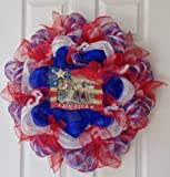 Large, New, Full Patriotic Photo Frame Deco Mesh Door Wreath. Fourth of July