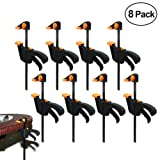 8PCS 4-Inch Ratchet Bar Clamp Spreader,Quick Grip Clamps,F-Shaped One-Handed Mini Bar Clamp for Woodworking DIY Hand Tool Kit Carpenter (Color: 8PCS, Tamaño: 11cm)