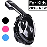 TriMagic Full Face Snorkel Mask For Kids 180° Panoramic Larger Viewing Area Diving Mask for Easier Breathe - GoPro Compatible with Anti-Fog and Anti-Leak(2017 Advanced Version)
