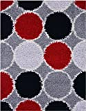 Shaggy Collection Grey Multi Color Circles Shag Area Rugs (4109) (5'x7')