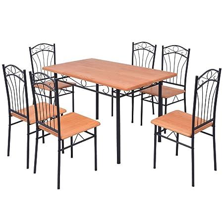 vidaXL Essgruppe Esstisch mit 6 Stuhlen Esszimmerstuhle Sitzgarnitur Sitzgruppe Stuhl