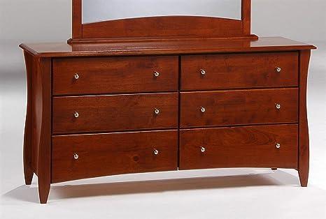 Cherry Finished Dresser w Six Drawers & Silver-Tone Pulls