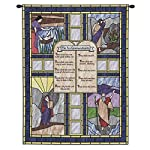Ten Commandments Stained Glass Wall Tapestry With Rod
