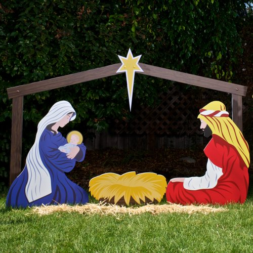 Holy family set large classic outdoor christmas nativity for Outdoor christmas scenes