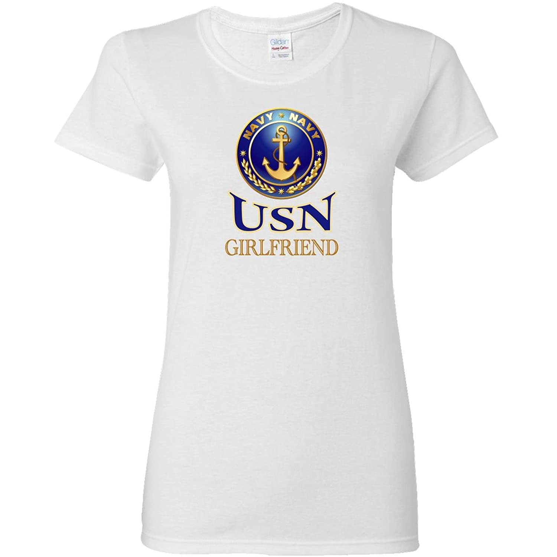 Inktastic Navy Shield - USN Girlfriend Women's T-Shirt inktastic little boys live dream sand boarding toddler t shirt