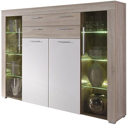 Credenza moderna Azalea, vetrina bianca o rovere,mobile soggiorno design con led