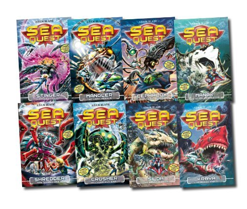 Sea Quest Series 8 Books Set Collection (Mangler The Dark Menace, Crusher The Creeping Terror, Stinger The Sea Phantom, Shredder The Spider Droid, Kraya The Blood Shark, Manak The Silent Predator, Silda Electric Eel, Cephalox Cyber Squid)