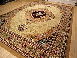 Large Traditional Beige 8x11 Rug Persian Area Rugs Tan and Cream 8x10 Living Room Rug Bedroom Rugs 8x10 Livingroom Carpet Dining Room Rug (Large 8\'x11\' Rug)