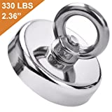 DIYMAG Super Strong Neodymium Fishing Magnets, 330 lbs(150 KG) Pulling Force Rare Earth Magnet with Countersunk Hole Eyebolt Diameter 2.36 inch(60mm) for Retrieving in River and Magnetic Fishing (Tamaño: 60 MM)