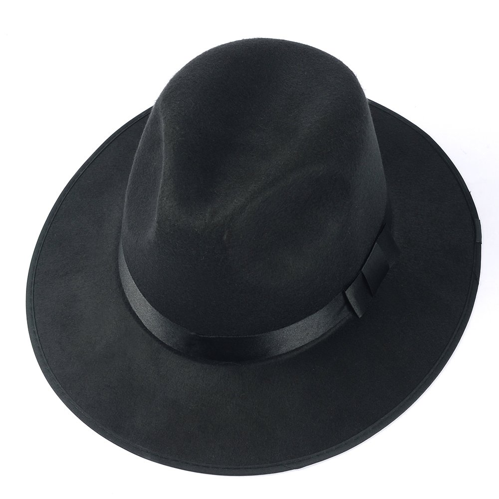 Medium Vintage Style Men's Hard Felt Wide Brim Fedora Trilby Panama Hat 5