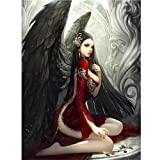 certainPL DIY 5D Diamond Painting by Number Kit, Full Drill Rhinestone Embroidery Arts Craft for Adults, Fallen Angel, 12x16 inches (Color: Multicolor, Tamaño: 12x16 inches)