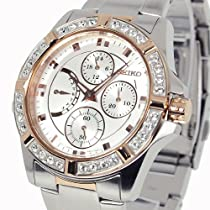 Seiko Lord Chronograph Swarovski Crystal Bezel Ladies Watch SRLZ96