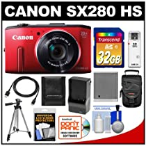Canon PowerShot SX280 HS Digital Camera (Red) with 32GB Card + Case + Battery & Charger + Tripod + HDMI Cable + Accessory Kit