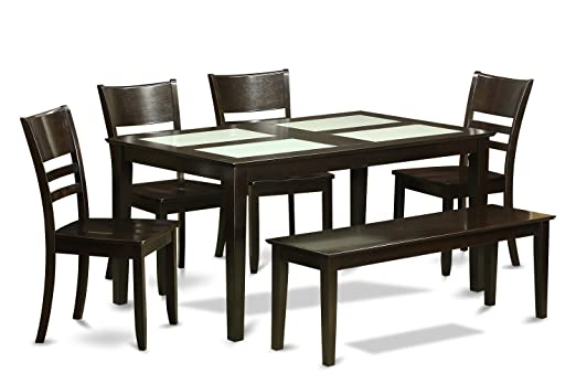 East West Furniture CALY6G-CAP-W 6-Piece Dining Table Set with Bench