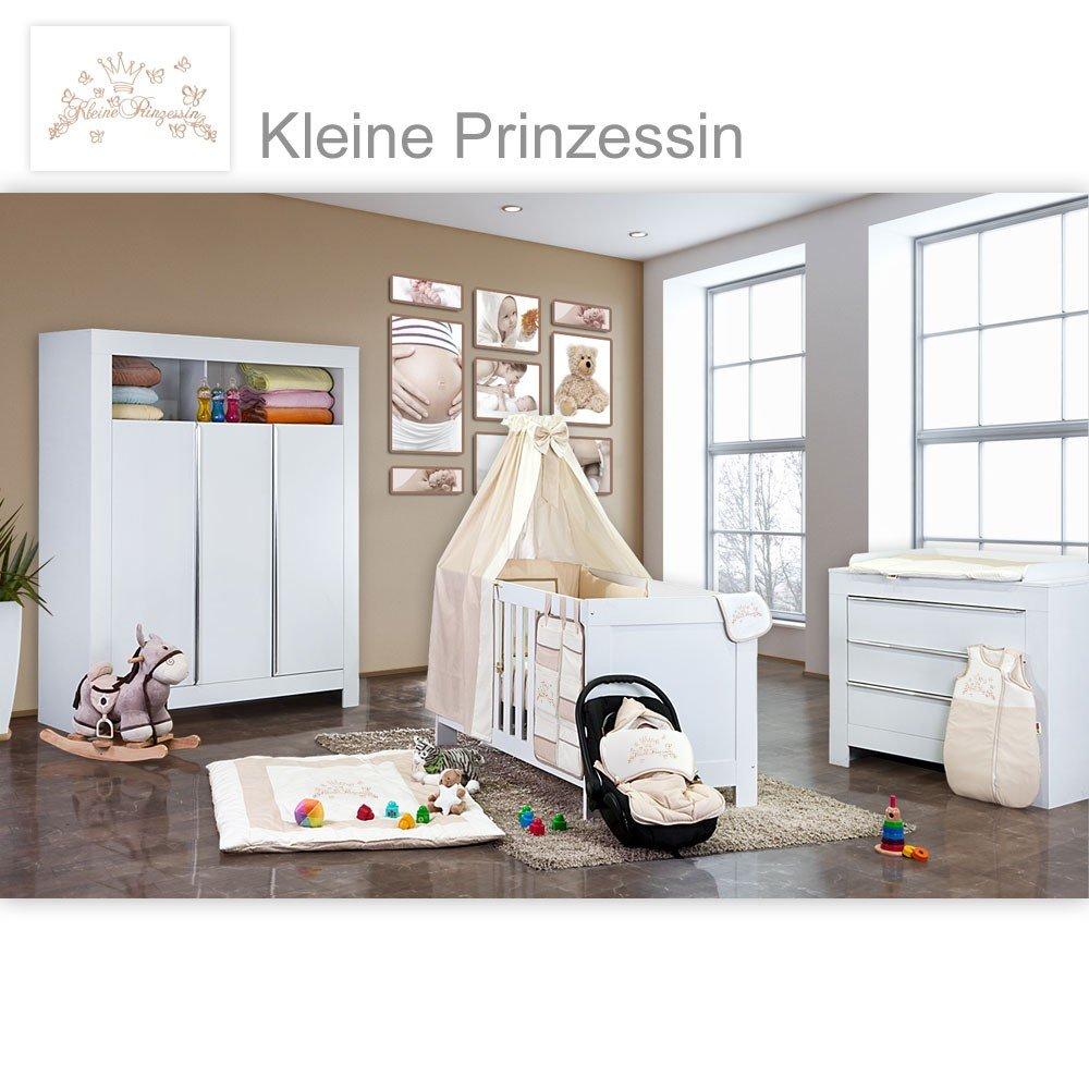 Babyzimmer Felix in weiss 19 tlg. mit 3 türigem Kl + Kleine Prinzessin in Beige