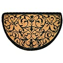 Entryways Iron Grate Half Round Extra Thick Hand Woven Coir Doormat, 18 by 47-Inch