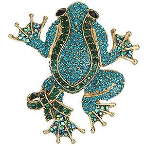 Ever Faith Gold-Tone Austrian Crystal Adorable Frog Brooch Blue w/ Green A13204-6