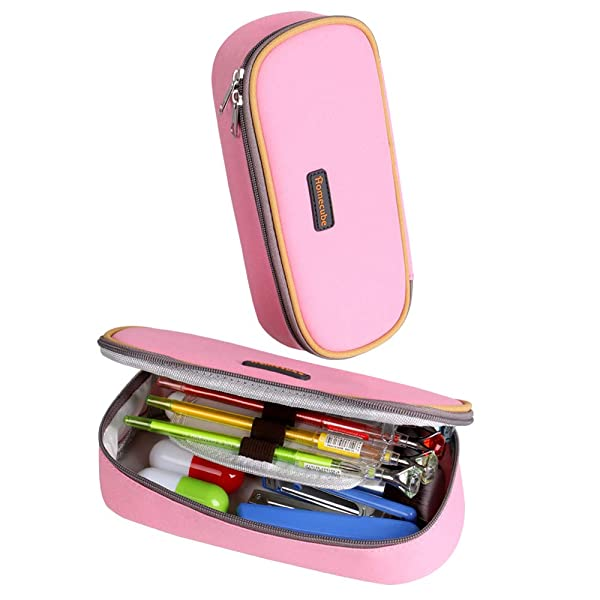 Pencil Case, Homecube Big Capacity Pencil Bag Makeup Pen Pouch Durable Students Stationery with Double Zipper for School/Office, Pink