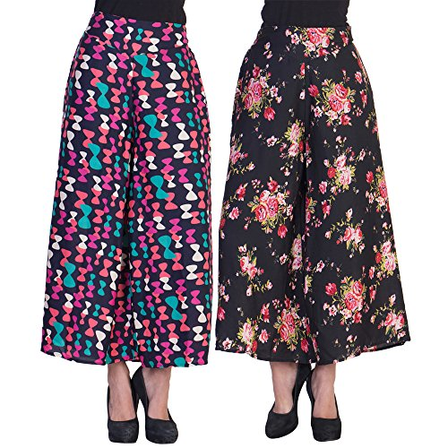2DAY's Women Stylish Palazzo Bow and Black base Floral Print (Pack of 2)
