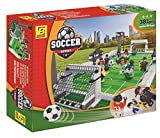 BRICK-LAND Soccer Game Building Bricks Toy Set with Football Field and 10 Players, 381 Piece