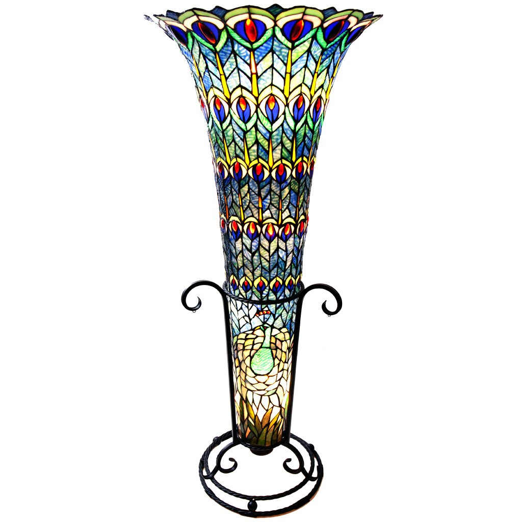 Good River Of Goods 10809 Stained Glass Tiffany Style Peacock Floor Vase Lamp,  43 Inch, Green/Blue/Purple/Red