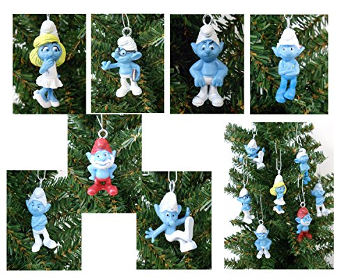 SMURFS Christmas Ornaments Featuring 7 Smurfs Ornaments with Papa Smurf, Smurfette, Brainy Smurf and Other Smurf Figures, Ornaments Average 1 1/2 to 1 3/4 Inches Tall, Great for a MINI Christmas Tree