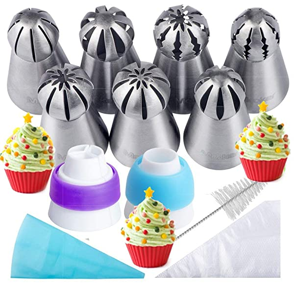 Russian Piping Tips 21PCS Baker's Kit,Set for Cake/Cupcake Decorating | 7 Russian Tips, 10 Disposable Pastry Bags, 2 Coupler, 1 Reusable Silicone Pastry Bag,1 cleaning brush, E-book,by Mooker (Color: Purple)