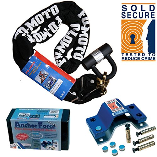 FD-MOTO Motorcycle Chain Lock & Sold Secure OXFORD Force Ground Anchor