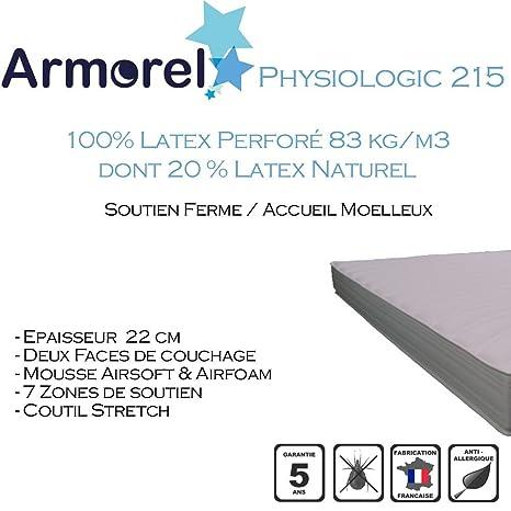 Armorel MAP215110/220 Physiologic215 Matelas Latex Perforé  Blanc 220 x 110 cm