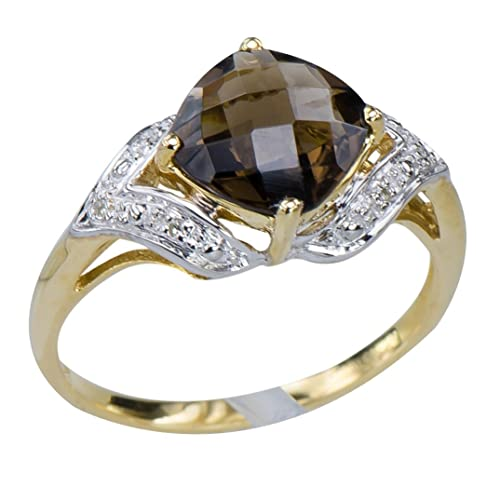 GemsLovers 9K Yellow Gold Genuine Brown Smoky Quartz Womens Ring
