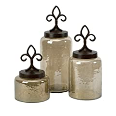 IMAX 20075-3 Fleur De Lis Lidded Jars Set of 3