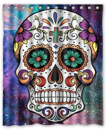 Galaxy Nebula Cool Floral Sugar Skull Waterproof Fabric Shower Curtain