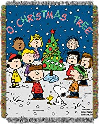Peanuts, Charlie Brown, Charlie Brown Christmas 48-Inch-by-60-Inch Acrylic Tapestry Throw by The Northwest Company