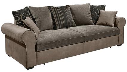 CANYON 3er Sofa Couch 3-Sitzer Schlafsofa Schlaffunktion Braun/Grau